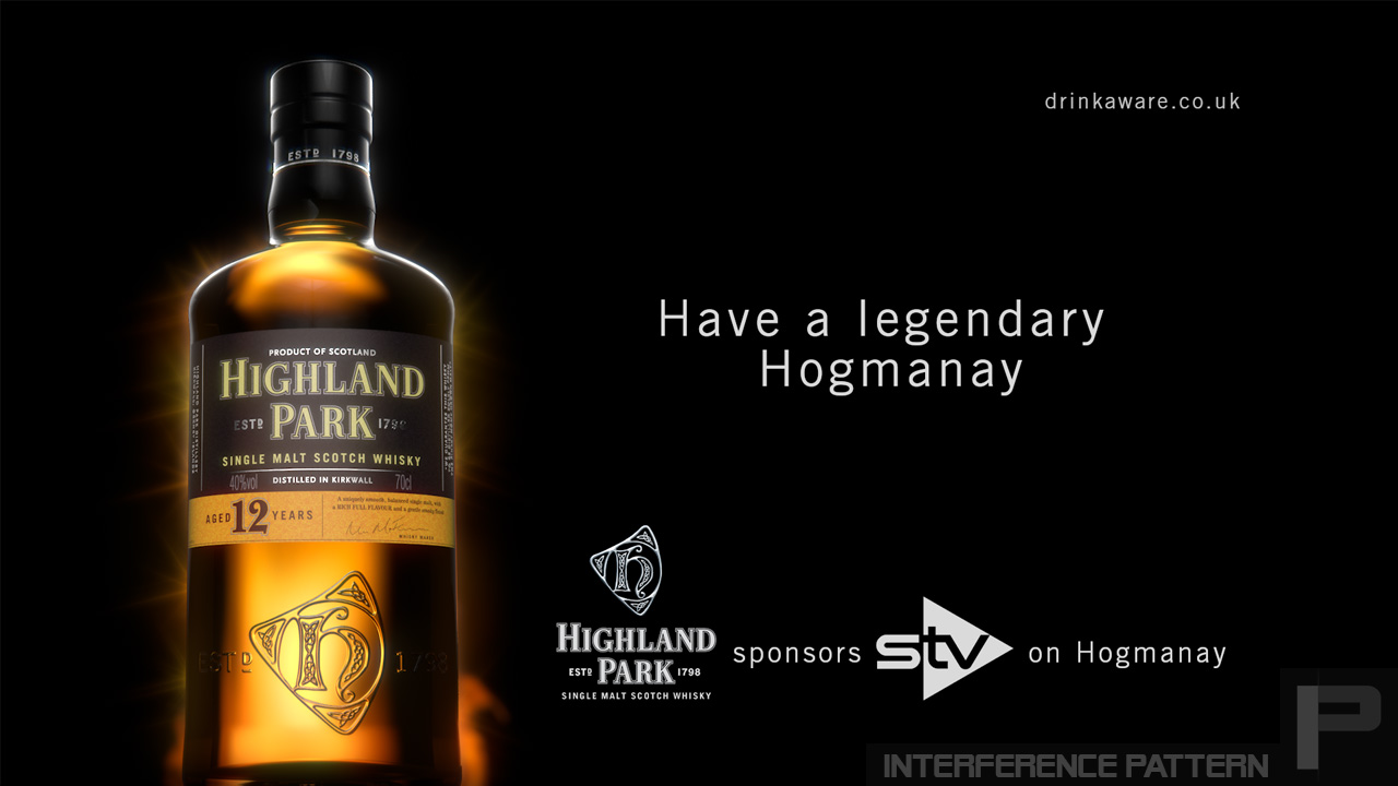 Our slick photo-realistic cgi whisky bottle for Highland Park's Hogmanay sponsorship bumper, on STV.