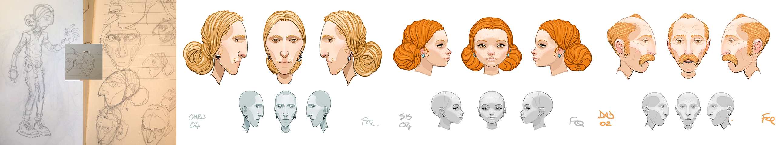 Designs for some of the film's characters.